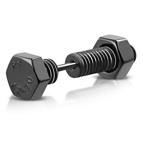 BlackAmazement 316L Edelstahl Fake Plug 6-Kant Schraube Screw schwarz silber Piercing Ohrstecker Herren (Schwarz)