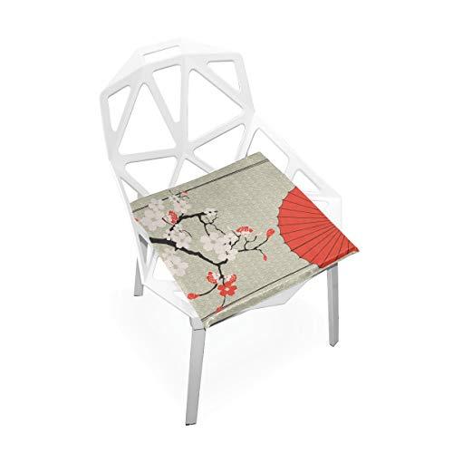 Komfortable Bürostuhl Kissen Japanischen Regenschirm Japanischen Kirsche Sakura Weiche Rutschfeste Memory Foam Stuhlkissen Kissen Sitz Für Home Küche Schreibtisch 16x16 Zoll Kleine Schreibtischstuhl M -