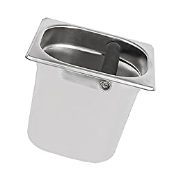 MagiDeal Durable Stainless Steel Espresso Coffee Grounds Knock Box Container For Coffee Machine Accessory 15cm Silver