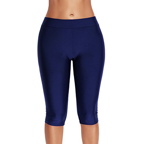 e034e6c686b54 Huateng Calzamaglia da donna 3/4 Plus Size Capri Leggings Ladies Plain  Bikini Tankini Bottoms