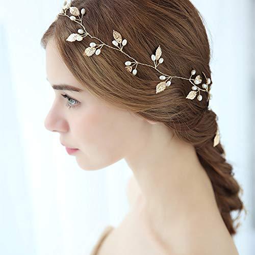 roroz Süßes Braut Kopfschmuck Haarband, Hochzeit Haarspangen goldene Blätter, Hochzeit Haar Rebe Lange handgemachte benutzerdefinierte Kristall Tiara,Gold