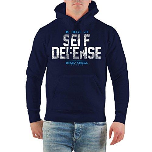 Männer und Herren Kapuzenpullover Krav Maga Self Defense (mit Rückendruck) Größe S - 8XL Dunkelblau