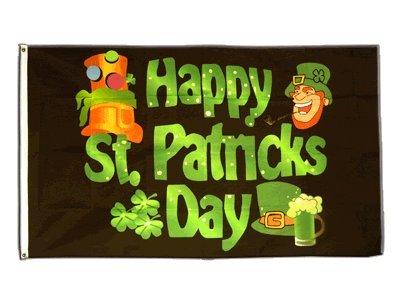 Flagge Happy St. Patrick's Day 2 - 90 x 150 cm (St Patricks Day Fahne Garten)