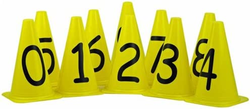 Sahni Sports Numbered Markers Cones 0-9 (Set of 10, 9''Cone), Multicolor