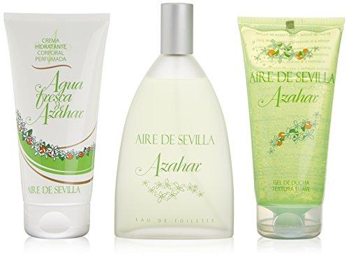 Aire De Sevilla Agua Fresca De Azahar- Set de 3 Piezas: Agua de tocador 150ml, Gel de Ducha y Crema Hidratante Corporal