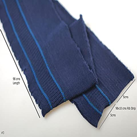 Neotrim Knit Rib Cuff Waistband with Stripes Trimming, Bomber Jackets Ribbing Welt and Neck Band Ribs for Jackets, Bombers or any Apparel Garments Edging. Stretch Resilient Ribs. Limited Stocks, Supplied as 2 Strips, Great Value! - Navy/ Blue Stripe, 98X10 -