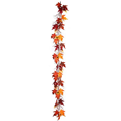 Wovemster Halloween Simulation Ahornblatt Cane Dark Maple Leaf Cane Kunststoff Pflanze Cane Home Winding Urlaub Event Dekoration Ahornblatt