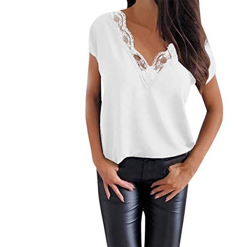Sommer T-Shirt,Rifuli® Lässige Spitzenbluse Kurzarm Loose Top Shirt Tee Tops Blusen Tuniken Bekleidung Damen ()