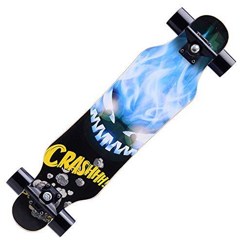Skateboard Deck Biegbares Deck und glatte PU-Rollen Geeignetes komplettes Skateboard mit Skate-Werkzeugset für Kinder Jungen Mädchen Jugendliche Anfänger -