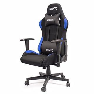 iprotect Gaming-Stuhl – Schreibtisch- und Bürostuhl für Gamer mit Stoffbezug in Schwarz-Blau|Belastbarkeit bis zu 200 kg