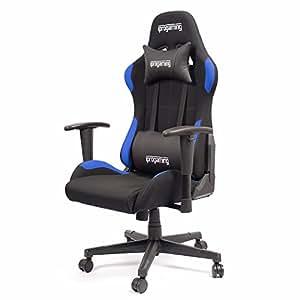 iProtect Sedia da gioco Gaming Chair - Sedia da scrivania e da ufficio per giocatori con rivestimento in tessuto nei colori nero e blu