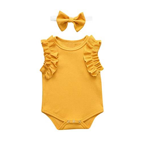 Livoral Neugeborene 2-teiliges Set,Mädchen Overall,Mädchen Overall + Bogen Stirnband(Gelb,18-24 Monate)