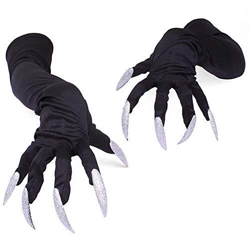 guanti con unghie TOOGOO Halloween Costume Guanti con Unghie Unghie Guanti Artigli