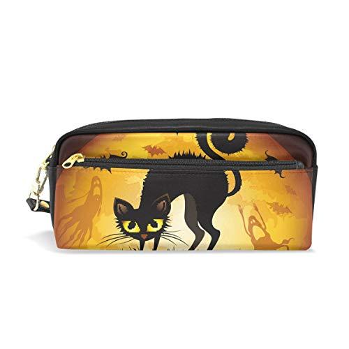 roßer Kapazität, für Halloween, schwarze Katze, Fledermaus auf Mond, Stifttasche mit Reißverschluss ()