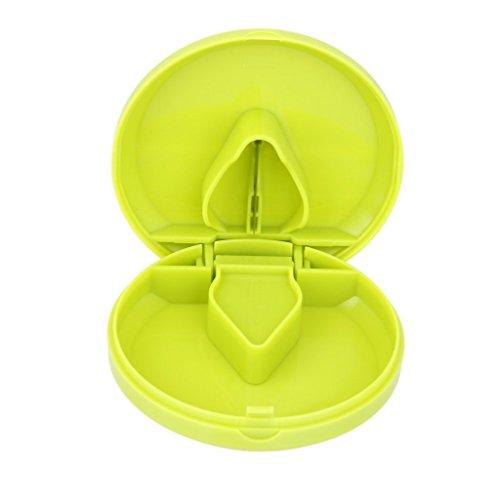 Nopea Medizin Case Pillenschneider Tablettenzerteiler Pillenteiler Tablettenteiler mit Aufbewahrungsfach Medikamententeiler Mini Tablettenbox Grün