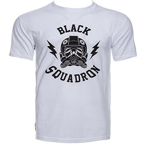 Addict Star Wars Corbata Luchador Negro Squadron camiseta cuello redondo blanca - algodón, blanco, 100% algodón, Hombre, Small, Blanco