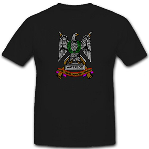 Waterloo Royal Scots Dragon Guards - Militär England Großbritannien Abzeichen Wappen - T Shirt Herren XL #11161