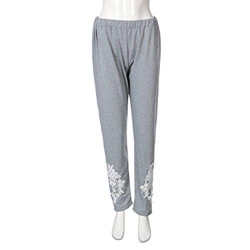 YWLINK Damen ÜBergrößE Spitze Applique Elastische Leggings Hosen Yoga Sporthosen(XL,Grau)