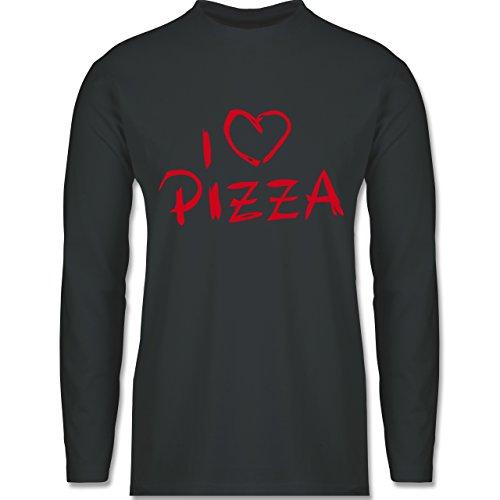 Shirtracer Küche - I Love Pizza - Herren Langarmshirt Dunkelgrau