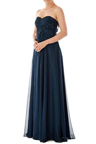 MACloth Strapless Sweetheart Long Chiffon Evening Ball Gown Prom Party Dress Fuchsia