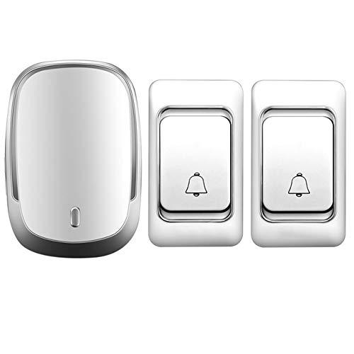 Drahtlose Türklingel DC batteriebetrieben Steuertaste 200M Remote LED-Licht Home Schnurlostelefon 4 Lautstärke 36 Glockenspiel,Silver,1x2