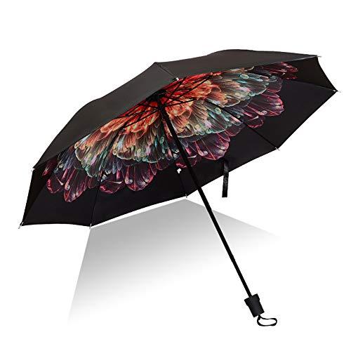 Jundy mini ombrello ultraleggero ultra protective - portatile compatto ombrello pieghevole ombrello da viaggioregalo ombrellone in vinile stampato triplo colore 10 100 cm