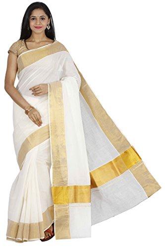 JISB Women's Cotton Saree With Blouse Piece (Saksa01041 _Cream)