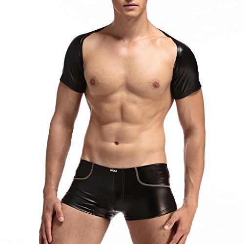 Jastore®Herren schwarz Unterhemd kurzarm PU Leder Wetlook Netz Arm Hülsen Top Shirt Muskel Shirt Männerunterwäsche Kostüm Auftritt Party Clubbesuch Muskelshirt muskulös S-L (L, kurzarm (PU (Kostüme Muskulös)