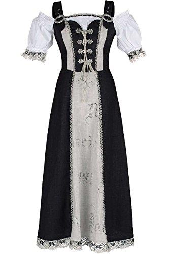 Damen Fuchs Trachtenmoden Landhauskleid Baumwolle 'Heidi', schwarz, 42