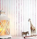 NEWROOM Kindertapete Rosa Vliestapete Weiß Kinder Streifen schöne moderne und edle Optik für Babys, Jungs oder Mädchen, inklusive Tapezier Ratgeber Kindertapete Rosa Streifen Kinder