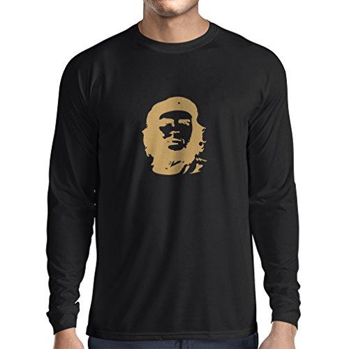 N4042L Wie El Che Guevara lustiges Geschenk, Langarm T-Shirt (XXXL, Black Gold)