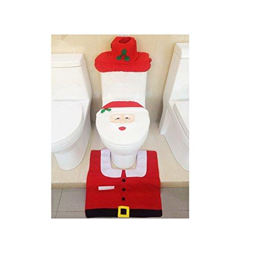 Decorazione Di Natale Pupazzo di neve Babbo, IMBS - Felice Copriwater Copertura Bagno TAPPETO set Regalo - rosso - Babbo Natale