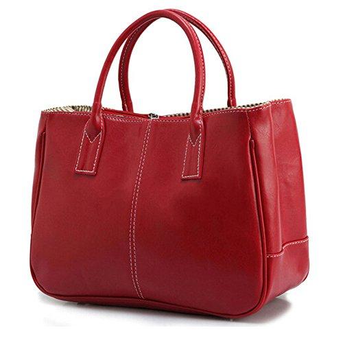 DELEY Mujer Simple Diseño Negocio Asa Superior Bolsa Oficina Hombro Bolso De Las Señoras Rojo