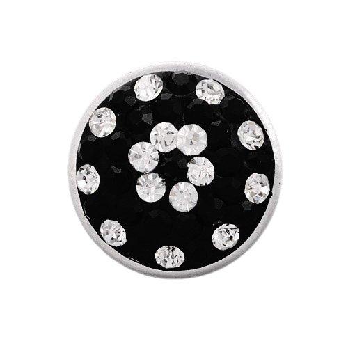 Andante Glitzer CHUNK Click-Button Druckknopf mit funkelnden Strass-Steinen (Schwarz-Weiß) für Chunk-Armbänder, Chunk-Ringe und andere Chunk-Accessoires (Schwarz Strass Tee)