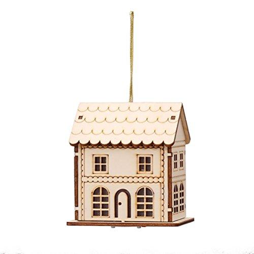 Tinksky Deco Noel en Bois Tinksky Maison de Noel Miniature Lumineux Suspension Noel