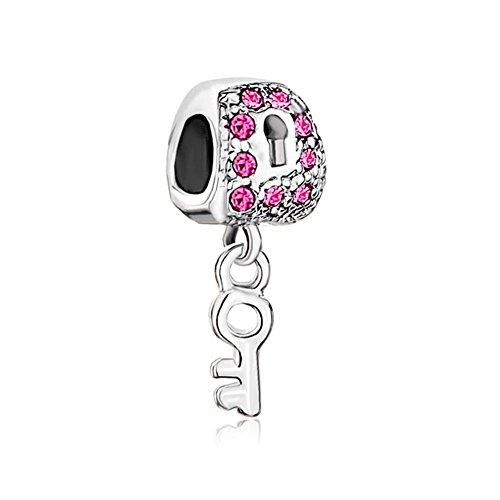 Korliya key to my heart charm pendente perlina per braccialetto