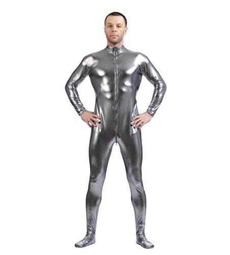 CHENGYANG Metallisch Glänzenden Ganzkörperanzug Anzug Bodysuit Kostüm Spandex Zentai Cosplay Grau 2XL