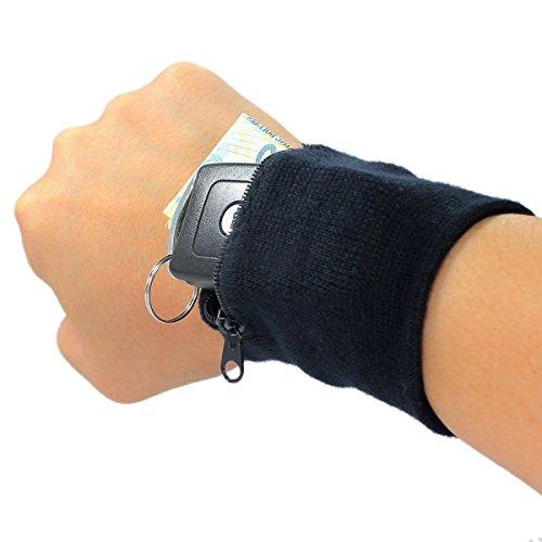 Schweißband mit Reißverschluss Tasche, Ishua Sport Handgelenktasche für Laufen Jogging Skifahren usw (Schwarz)
