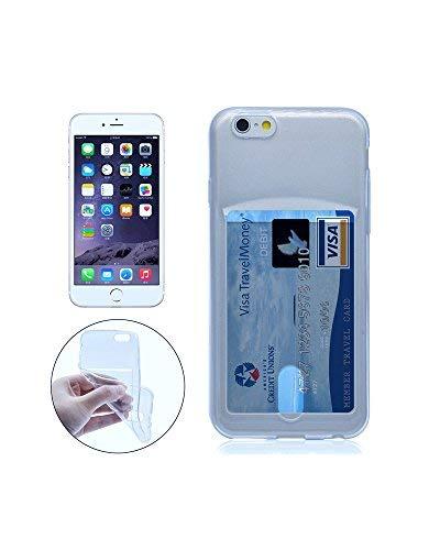 Funda iPhone 6 y 6S de silicona con tarjetero para guardar 1-2 tarjetas. Color azul clarito.