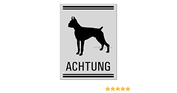 200x150 mm 4-Fach gelocht silbermatt eloxiert Original aus der Ofform Aluminiumschilder-Kollektion Nr.37121-EL Hundewarnschild Hundeschild Achtung Boxer