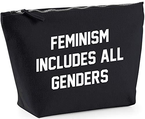 Hippowarehouse Feminism Includes All Genders Bolsa de Lavado cosmética Maquillaje Impreso 18x19x9cm