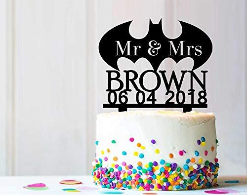 , Motiv: Fledermaus und Superhelden, für Hochzeit, Geburtstagsparty, rustikal, einzigartiges Design, personalisierbar ()