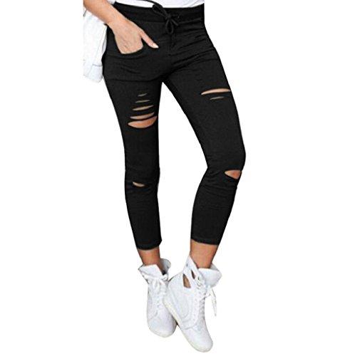 Sannysis pantalones mujer jeans pantalones rotos flacos cintura alta (Negro, M)