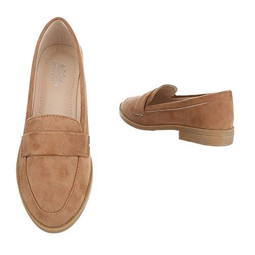 Ital-Design Slipper Damenschuhe Slipper Blockabsatz Blockabsatz Halbschuhe Camel