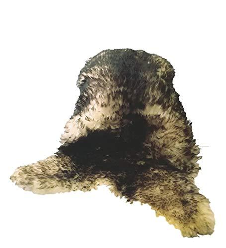 Amazinggirl Lammfell Teppich Schaffell echt -SchafsfellFell deko FellteppichSheepskin (Mufflon (Braun/Grau/Weiss), (XXL); 120-130 cm)