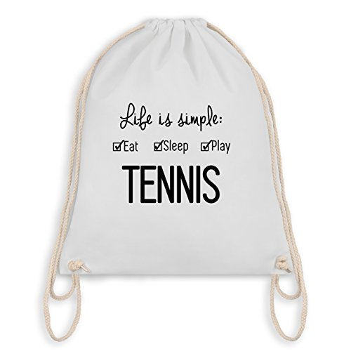 Tennis - Life is simple Tennis - Unisize - Weiß - WM110 - Turnbeutel I Gym Bag (Frauen Tennis)