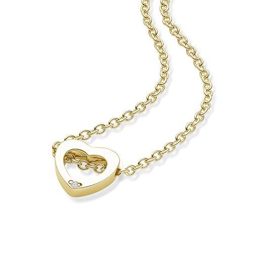 Herzkette Gold von AMOONIC mit * Zirkonia* **Silber 925 hochwertig vergoldet** Kette Zirkonia Damen Herzanhänger Herzchenkette Halskette Herz Goldkette Frau Frauen Freundin FF599VGGGZIFA40