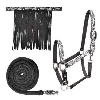 Waldhausen Zebra Halfter Set, VB, schwarz/weiß, Vollblut