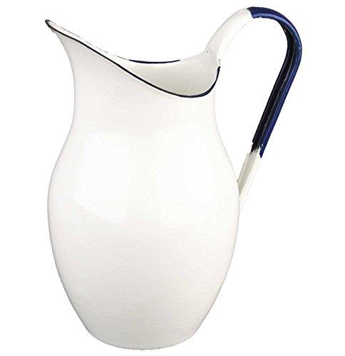 SIDCO ® Wasserkanne Shabby Milchkrug Krug Saftkrug Wasserkrug Kanne Vintage weiß - blau