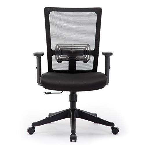 Schreibtischstuhl Drehstuhl Ergonomischer Bürostuhl Mit Netzrücken Drehbarer Schreibtischstuhl Chefsessel Aus Schwarzem Netz Und Verstellbarer Sitzhöhe, Armlehnen, Schwarz ( Farbe : Schwarz )